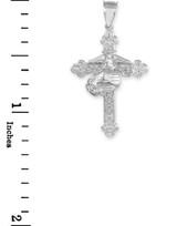 White Gold US Marine Christian Cross Pendant Necklace