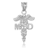 White Gold Medical Doctor MD Caduceus Charm Pendant Necklace