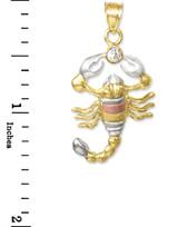 Tri-Color Gold CZ Scorpion Charm Pendant