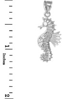 White Gold CZ Seahorse Charm Pendant