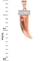 Tiger tooth fang pendant in rose gold, with diamonds.