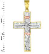 Yellow, white, and rose gold cz crucifix pendant.