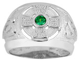 White Gold Celtic Ring with Emerald