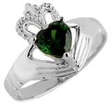 White Gold Claddagh Ladies Ring with Emerald.  Available in 14k and 10k.