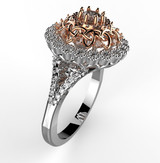 Two-tone white and rose gold 1 ct diamond celtic engagement ring.