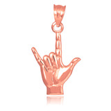 """Rose Gold """"Hang Loose"""" Charm Pendant Necklace"""