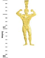 Gold Muscle Man Bodybuilder Sports Charm Pendant