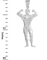 White Gold Muscle Man Bodybuilder Sports Charm Pendant