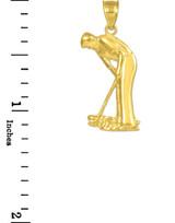 Gold Golfer Sports Charm Pendant