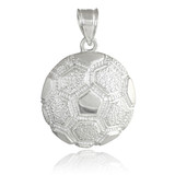 Silver Textured Soccer Ball Sports Pendant