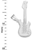 White Gold Bass Guitar Necklace Pendant