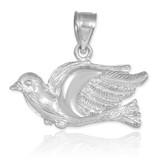 White Gold Flying Dove Pendant