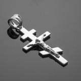 White Gold Eastern Orthodox Crucifix Pendant