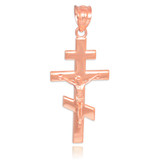 Rose Gold Russian Orthodox Crucifix Pendant