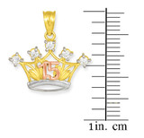 Tri-tone Gold Sweet 15 Crown CZ Pendant