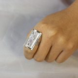 White Gold Saint Jude Fancy Ring 1.2 Inches