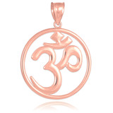 Rose Gold Om (Ohm) Openwork Medallion Pendant Necklace