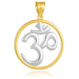 Two-Tone Gold Om (Ohm) Medallion Pendant Necklace