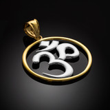 two-tone gold om pendant