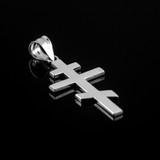 White Gold Plain Russian Orthodox Cross Pendant Necklace