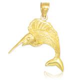 gold sailfish pendant