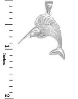 White Gold Sailfish Pendant Necklace
