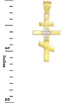 Diamond Studded Gold Russian Orthodox Cross Pendant