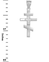 Diamond Studded White Gold Russian Orthodox Cross Pendant