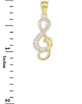 Diamond Studded Gold Treble Clef Music Pendant Necklace