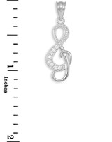 Diamond Studded White Gold Treble Clef Music Pendant Necklace
