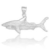 white gold shark pendant