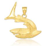 Textured Gold Shark Pendant Necklace