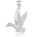 white gold duck pendant