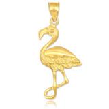 yellow gold flamingo pendant