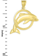 Gold Hoop Jumping Dolphin Pendant