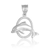 White Gold Hoop Jumping Dolphin Charm Pendant Necklace