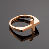 Solid Rose Gold Flat Top Sideways Cross Ring