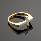 Two-Tone Solid Gold Flat Top Sideways Cross Ring