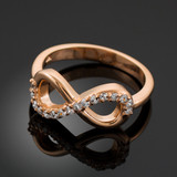 Solid Rose Gold Clear CZ Infinity Ring