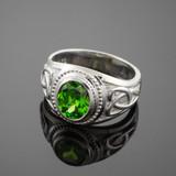 Sterling Silver Celtic Emerald Green CZ Men's Ring