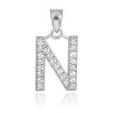 "White Gold Letter ""N"" Initial Diamond Monogram Pendant Necklace"