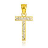 "Gold Letter ""T"" Diamond Initial Pendant Necklace"