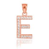 "Rose Gold Letter ""E"" Diamond Initial Pendant Necklace"