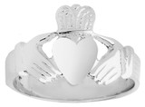Solid Claddagh Mens Ring in Sterling Silver