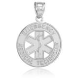 White Gold EMT Medical Charm Pendant Necklace