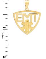 Polished Gold EMT Emergency Medical Technician Pendant Necklace