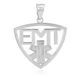 Polished White Gold EMT Emergency Medical Technician Pendant Necklace