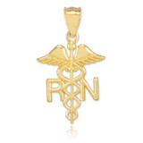 Gold Registered Nurse RN Medical Pendant Necklace