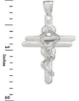 White Gold Contemporary Crucifix Cross Pendant