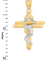 Two-Tone Gold Contemporary Crucifix Cross Pendant